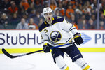 "FILE - Buffalo Sabres' Rasmus Ristolainen plays during an NHL hockey game against the Philadelphia Flyers in Philadelphis, in this Saturday, March 7, 2020, file photo. Ristolainen is putting behind the frightening two-week bout he had in dealing with COVID-19 by focusing his energy on getting back into game shape. ""The way I think about it, it's just a bump in the road, and it's going to make me tougher and better,"" Ristolainen said during a video conference call Thursday, Feb. 25, 2021, in his first comments since sharing his experience with the Finnish newspaper Ilta-Sanomat last week. (AP Photo/Matt Slocum, File)"