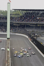 Felix Rosenqvist, of Sweden, leads the field at the start of the Indy GP IndyCar auto race at Indianapolis Motor Speedway, Saturday, May 11, 2019 in Indianapolis. (AP Photo/Darron Cummings)