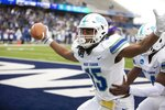 West Florida wide receiver Kevin Grant celebrates after catching a touchdown pass during the Division II championship NCAA college football game against Minnesota State on Saturday, Dec. 21, 2019, in McKinney, Texas. (AP Photo/Gareth Patterson)