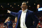 Arizona head coach Sean Miller reacts to a foul call in the first half during an NCAA college basketball game against Arizona State, Saturday, March 9, 2019, in Tucson, Ariz. (AP Photo/Rick Scuteri)