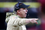 New Orleans Saints head coach Sean Payton calls out in the first half of an NFL football game against the Atlanta Falcons in New Orleans, Sunday, Nov. 10, 2019. (AP Photo/Butch Dill)