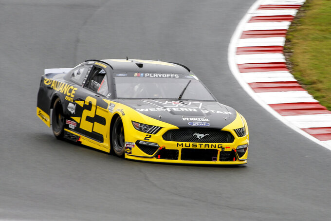 Brad Keselowski (2) competes in a NASCAR Cup Series auto race at Charlotte Motor Speedway in Concord, N.C., Sunday, Oct. 11, 2020. (AP Photo/Nell Redmond)