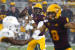 Arizona State quarterback Jayden Daniels looks to pass the ball against Kent State during the first half of an NCAA college football game Thursday Aug. 29, 2019, in Tempe, Ariz. (AP Photo/Ralph Freso)
