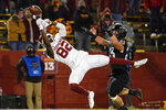 Iowa State linebacker Mike Rose (23) breaks up a pass intended for Oklahoma wide receiver Obi Obialo (82) during the second half an NCAA college football game, Saturday, Oct. 3, 2020, in Ames, Iowa. Iowa State won 37-30. (AP Photo/Charlie Neibergall)
