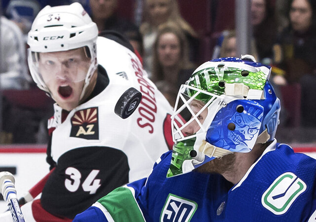 Vancouver Canucks goalie Thatcher Demko, right, makes a save as Arizona Coyotes' Carl Soderberg, of Sweden, watches during the first period of an NHL hockey game Wednesday, March 4, 2020, in Vancouver, British Columbia. (Darryl Dyck/The Canadian Press via AP)