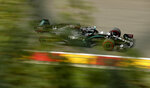 Mercedes driver Lewis Hamilton of Britain steers his car during the second practice session prior to the Formula One Grand Prix at the Spa-Francorchamps racetrack in Spa, Belgium Friday, Aug. 28, 2020. (AP Photo/Francisco Seco, Pool)