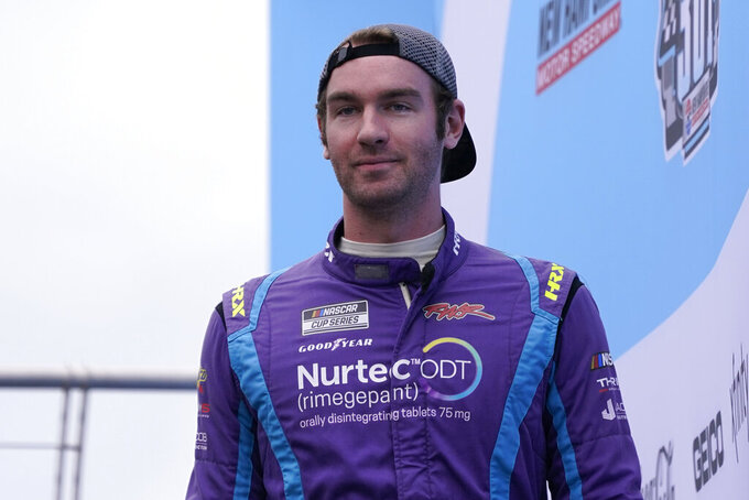 Cody Ware at a NASCAR Cup Series auto race, Sunday, July 18, 2021, in Loudon, N.H. (AP Photo/Charles Krupa)
