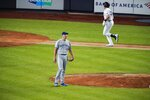 Toronto Blue Jays pitcher Jacob Waguespack waits as New York Yankees' Luke Voit, right, runs the bases after hitting a three-run home run during the sixth inning of a baseball game Wednesday, Sept. 16, 2020, in New York. (AP Photo/Frank Franklin II)