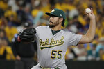 Oakland Athletics starting pitcher Sean Manaea throws to a Seattle Mariners batter during the first inning of a baseball game Thursday, Sept. 26, 2019, in Seattle. (AP Photo/Ted S. Warren)