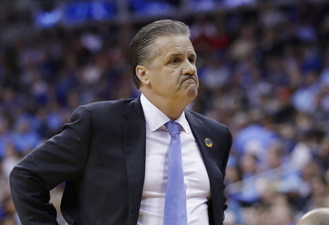 Kentucky head coach John Calipari is seen on the sidelines during the first half of a men's NCAA tournament college basketball Midwest Regional semifinal game against Houston Friday, March 29, 2019, in Kansas City, Mo. (AP Photo/Charlie Riedel)