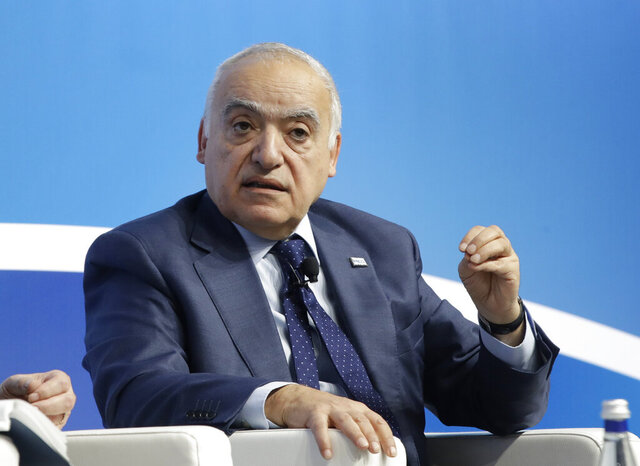 """FILE - In this Dec. 7, 2019 file photo, then UN special envoy to Libya Ghassan Salame speaks during the Mediterranean Dialogues conference in Rome. Salame, a former U.N. envoy to Libya accused the Security Council of """"hypocrisy"""" and of undermining his efforts to bring peace to the war-torn North African country in a podcast interview aired Tuesday, July 2, 2020. Salame said the majority of the U.N. Security Council supported the military offensive launched last year by Libyan commander Khalifa Hifter to capture the capital, Tripoli, from the internationally recognized government. (AP Photo/Alessandra Tarantino, File)"""