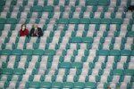 Fans watches during warm ups before an NCAA College Football Playoff national championship game between Alabama and Ohio State, Monday, Jan. 11, 2021, in Miami Gardens, Fla. (AP Photo/Wilfredo Lee)