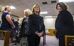 Guiding Hands School special education teacher Kimberly Wohlwend, far left, accused of restraining 13-year-old Max Benson, principal Staranne Meyers, center, and site administrator Cindy Keller, right, are arraigned on involuntary manslaughter charges in El Dorado Superior Court, Wednesday, Nov. 13, 2019, in Placerville, Calif. Max, who was autistic, died a day after he was put into a