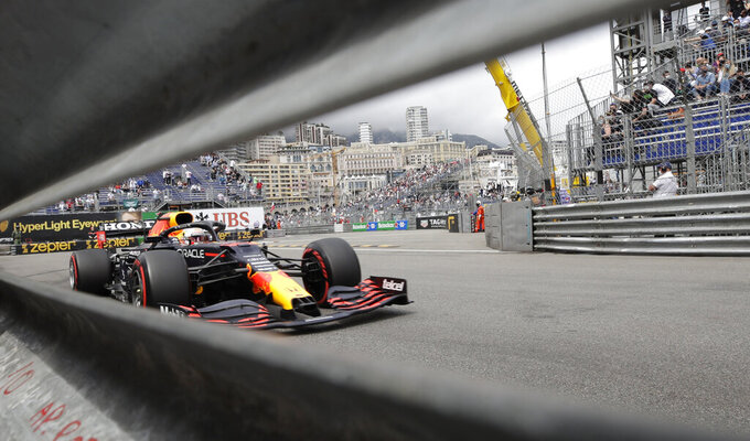 Red Bull driver Max Verstappen of the Netherlands steers his car during the qualifying session at the Monaco racetrack, in Monaco, Saturday, May 22, 2021. The Formula One race will take place on Sunday. (AP Photo/Luca Bruno)