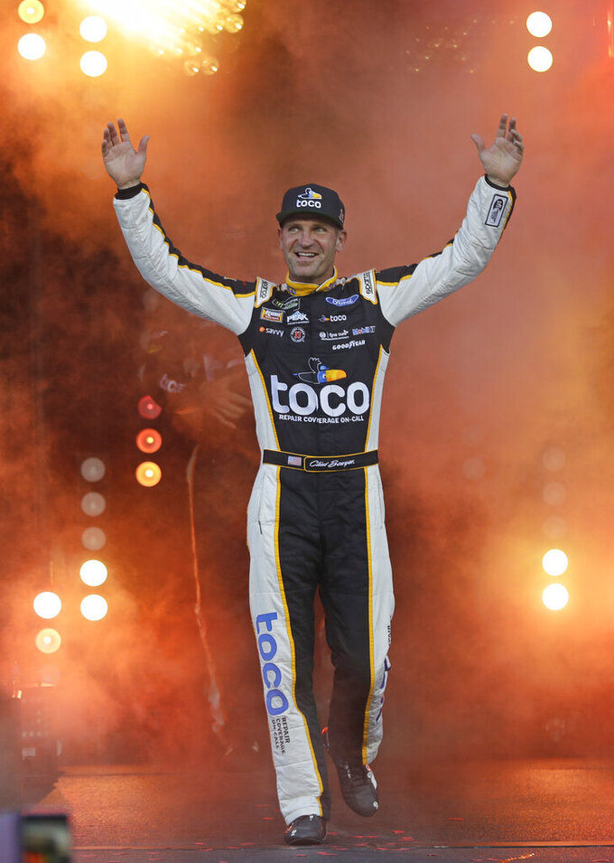 Clint Bowyer is introduced for the NASCAR All-Star Race at Charlotte Motor Speedway in Concord, N.C., Saturday, May 18, 2019. (AP Photo/Chuck Burton)
