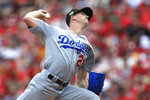 Los Angeles Dodgers' Walker Buehler throws in the first inning of a baseball game against the Cincinnati Reds, Saturday, May 18, 2019, in Cincinnati. (AP Photo/Aaron Doster)