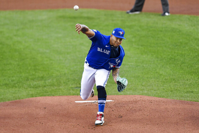 Toronto Blue Jays starting pitcher Taijuan Walker throws to a Baltimore Orioles batter during the first inning of a baseball game in Buffalo, N.Y., Saturday, Aug. 29, 2020. (AP Photo/Adrian Kraus)