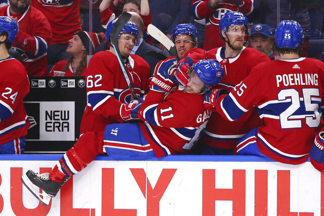 Montreal Canadiens forward Brendan Gallagher (11) and teammates celebrate in the closing moments of the team's 3-1 victory over the Buffalo Sabres in an NHL hockey game Thursday, Jan. 30, 2020, in Buffalo, N.Y. (AP Photo/Jeffrey T. Barnes)