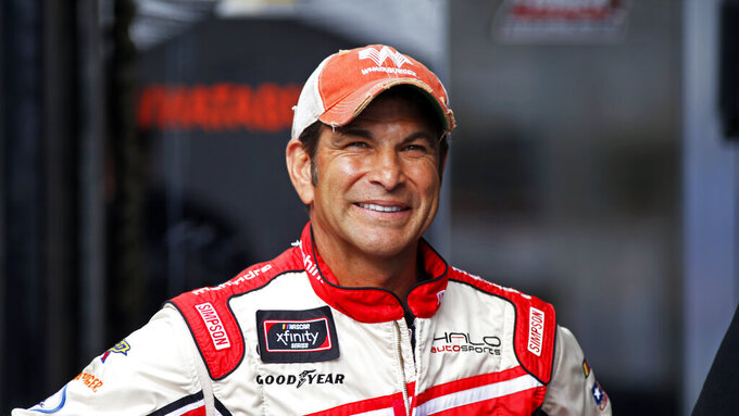 Driver David Starr is seen in the pits before practice for an NASCAR Xfinity Series auto race on Thursday, Aug. 15, 2019, in Bristol, Tenn. (AP Photo/Wade Payne)