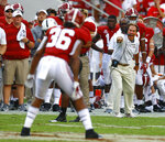 Alabama head coach Nick Saban instructs his players from the sidelines during the second half of an NCAA college football game against Arkansas State, Saturday, Sept. 8, 2018, in Tuscaloosa, Ala. Alabama won 57-7. (AP Photo/Butch Dill)
