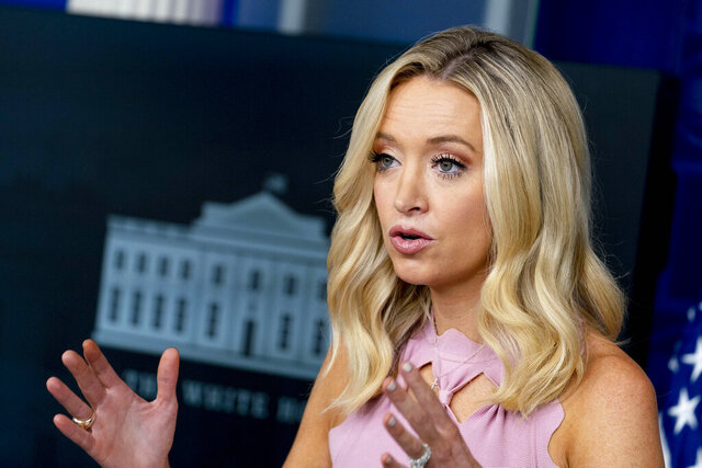"""White House press secretary Kayleigh McEnany speaks during a news briefing at the White House, Monday, Aug. 31, 2020, in Washington. A federal judge in Atlanta has ruled that the daughter of a married gay couple in Georgia who was born via surrogate in England has been an American citizen since birth. """"That pertained to surrogacy and it had nothing to do with the sexual orientation of the parents,"""