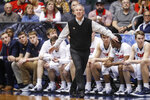 FILE - Then-Belmont head coach Rick Byrd works the bench during the first half of a First Four game of the NCAA college basketball tournament against Temple, in Dayton, Ohio, in this Tuesday, March 19, 2019, file photo. Belmont is joining the Missouri Valley Conference on July 1 and leaving the Ohio Valley Conference after nine years.  (AP Photo/John Minchillo, File)