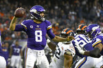 Minnesota Vikings quarterback Kirk Cousins throws during the second half of an NFL football game against the Chicago Bears Sunday, Sept. 29, 2019, in Chicago. The Bears won 16-6. (AP Photo/Matt Marton)