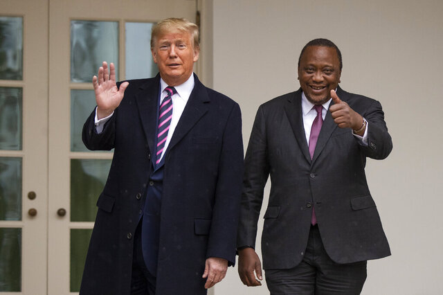 President Donald Trump welcomes Kenyan President Uhuru Kenyatta at the White House, Thursday, Feb. 6, 2020, in Washington. (AP Photo/Manuel Balce Ceneta)