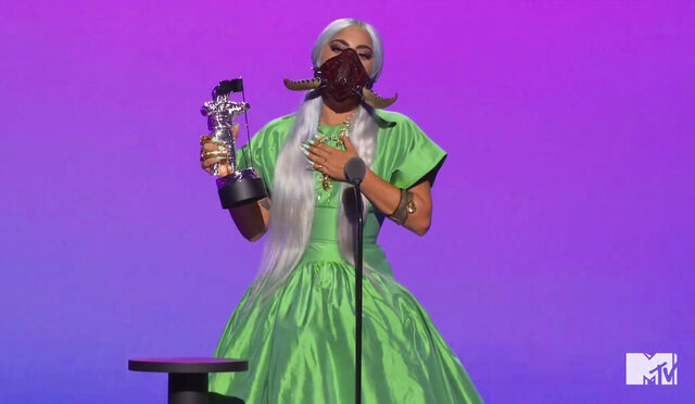 In this video grab issued Sunday, Aug. 30, 2020, by MTV, Lady Gaga accepts the award for song of the year for