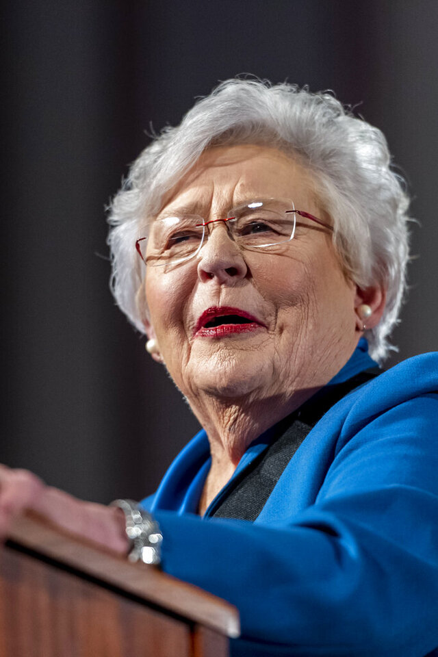 Alabama Gov. Kay Ivey gives the State of the State Address to a joint session of the Alabama Legislature on Tuesday, Feb. 4, 2020, in the old house chamber of the Alabama State Capitol in Montgomery, Ala. (AP Photo/Vasha Hunt)