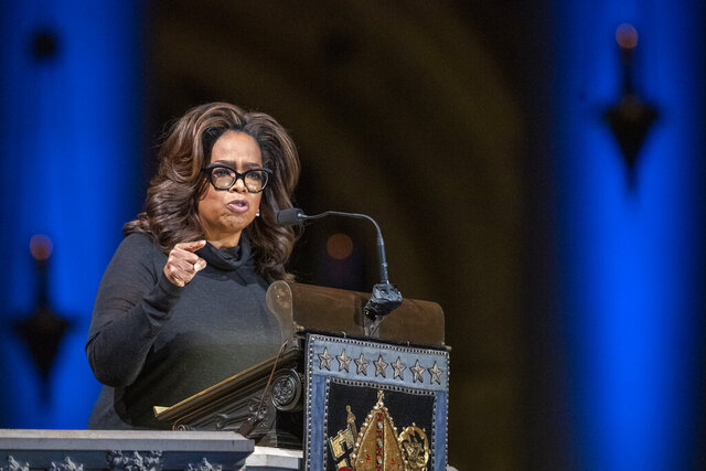 """FILE - In this Nov. 21, 2019 file photo, Oprah Winfrey speaks during the Celebration of the Life of Toni Morrison at the Cathedral of St. John the Divine in New York.  Winfrey says her friend Gayle King is facing death threats following a social media backlash caused by an interview with WNBA star Lisa Leslie that concerned the late Kobe Bryant. Winfrey said on Hoda & Jenna & Friends, Friday, Feb. 7, 2020,  that King """"is not doing well'' and has to travel with security because of threats.   (AP Photo/Mary Altaffer, File)"""