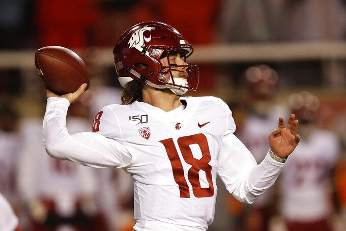 Washington State quarterback Anthony Gordon (18) throws against Utah in the first half of an NCAA college football game Saturday, Sept. 28, 2019, in Salt Lake City. (AP Photo/Rick Bowmer)