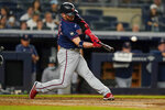 Minnesota Twins' Josh Donaldson hits a two-run home run during the sixth inning of a baseball game against the New York Yankees, Friday, Aug. 20, 2021, in New York. (AP Photo/Frank Franklin II)