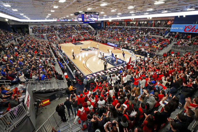 Robert Morris hosts Pittsburgh for the first NCAA college basketball game in on its new home court in the UMPC Event Center, on the Robert Morris University campus in Pittsburgh on Tuesday, Nov. 12, 2019. Pittsburgh won 71-57. (AP Photo/Gene J. Puskar)