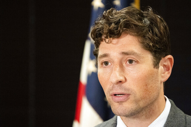 Minneapolis Mayor Jacob Frey announces an emergency regulation ordering all indoor bar spaces in Minneapolis closed effective August 1, 2020 during a press conference in Minneapolis on Wednesday, July 29, 2020. (Evan Frost/Minnesota Public Radio via AP)