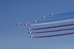 Alpha jets from the French Air Force Patrouille de France fly during the inauguration the 53rd International Paris Air Show at Le Bourget Airport near Paris, France, Monday June 17, 2019. The world's aviation elite are gathering at the Paris Air Show with safety concerns on many minds after two crashes of the popular Boeing 737 Max. (Benoit Tessier/Pool via AP)