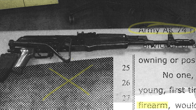 A photo illustration from a Clovis, California, police evidence image of a stolen AK-74 and an associated investigative document. (AP Illustration/Nat Castañeda)