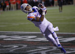 Boise State wide receiver Khalil Shakir catches a pass for a touchdown against UNLV during the second half of an NCAA college football game Saturday, Oct. 5, 2019, in Las Vegas. (AP Photo/John Locher)