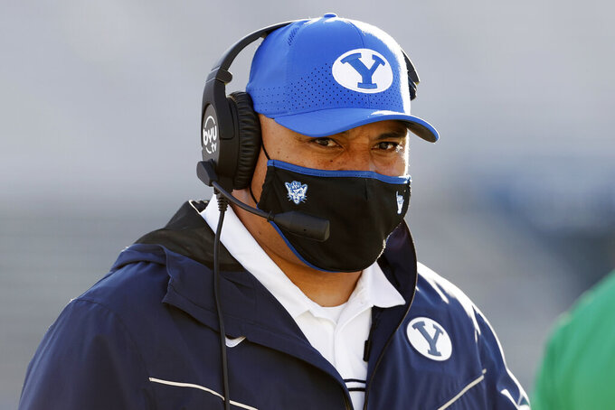 BYU head coach Kalani Sitake works the sidelines during the third quarter against North Alabama in an NCAA college football game Saturday, Nov. 21, 2020, in Provo, Utah. (AP Photo/Jeff Swinger, Pool)