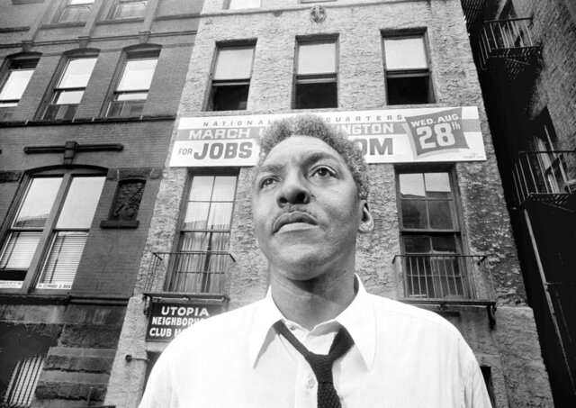 FILE — In this Aug. 1, 1963 file photo Bayard Rustin, leader of the March on Washington poses in New York City. California lawmakers, state Sen. Scott Wiener, D-San Francisco, and Assemblywoman Shirley Weber, D- San Diego, called on Gov. Gavin Newsom to posthumously pardon Rustin, who was jailed for having gay sex nearly 70 years ago, during a Capitol news conference in Sacramento, Calif., Jan. 21, 2020. (AP Photo/Eddie Adams)