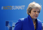 British Prime Minister Theresa May arrives for a summit of heads of state and government at NATO headquarters in Brussels on Wednesday, July 11, 2018. NATO leaders gather in Brussels for a two-day summit to discuss Russia, Iraq and their mission in Afghanistan. (AP Photo/Francois Mori)