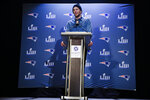 New England Patriots quarterback Tom Brady speaks with members of the media during a news conference Thursday, Jan. 31, 2019, ahead of the NFL Super Bowl 53 football game against Los Angeles Rams in Atlanta. (AP Photo/Matt Rourke)