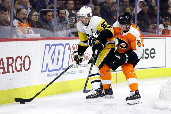 Murray, Crosby lead Penguins past Flyers 4-1