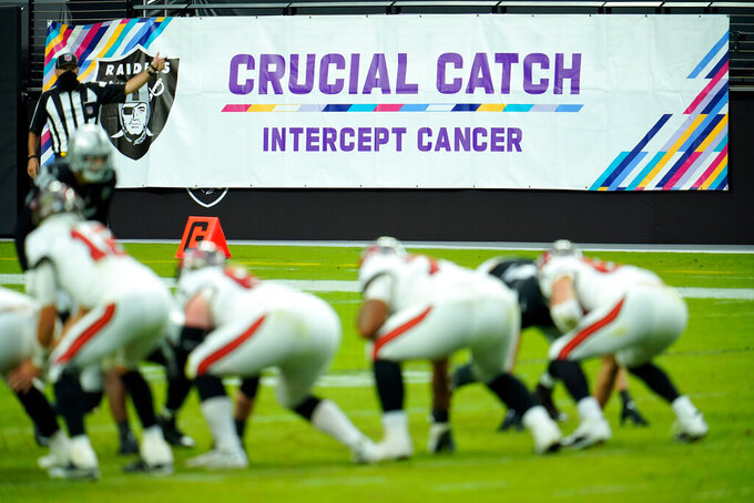 """FILE - A """"Crucial Catch"""" banner is on display during an NFL football game between the Las Vegas Raiders and the Tampa Bay Buccaneers in Las Vegas, in this Sunday, Oct. 25, 2020, file photo. The NFL is launching its """"Crucial Catch"""" initiative this month, and it is concentrating on getting screened to catch cancer early when it may be easier to treat. The COVID-19 pandemic has had a devastating impact on screening, with some cancer screenings declining by 90%. So the league and the American Cancer Society are allocating resources dedicated to safely restarting cancer screenings in communities with the most need. (AP Photo/Jeff Bottari, File)"""