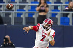 Utah quarterback Cameron Rising (7) throws a pass during the second half of an NCAA college football game against San Diego State Saturday, Sept. 18, 2021, in Carson, Calif. (AP Photo/Ashley Landis)