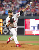 Philadelphia Phillies starting pitcher Cole Irvin throws during the first inning of the team's baseball game against the Colorado Rockies, Friday, May 17, 2019, in Philadelphia. (AP Photo/Chris Szagola)