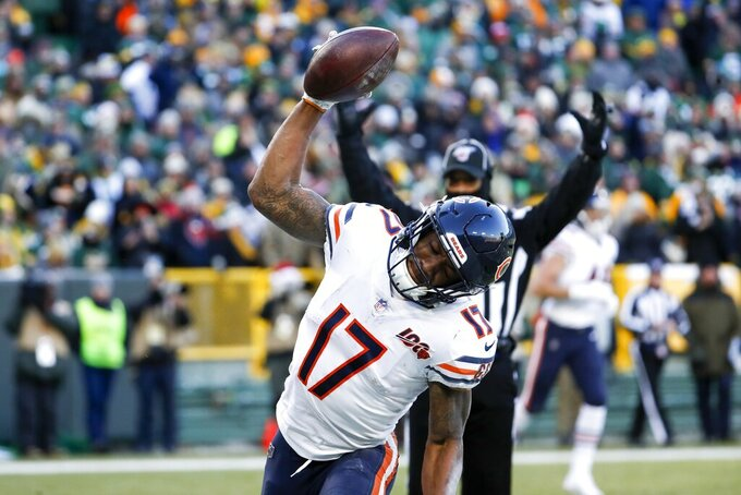 Chicago Bears' Anthony Miller celebrates his touchdown catch during the second half of an NFL football game against the Green Bay Packers Sunday, Dec. 15, 2019, in Green Bay, Wis. (AP Photo/Matt Ludtke)