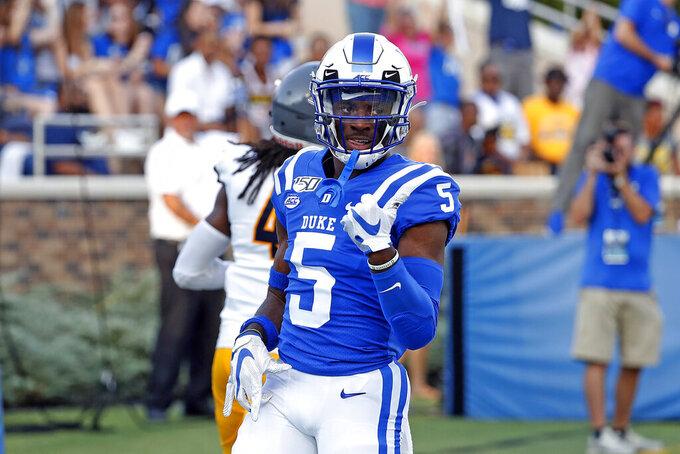 Duke's Jalon Calhoun (5) celebrates his touch down against the North Carolina A&T during the first half of an NCAA college football game in Durham, N.C., Saturday, Sept. 7, 2019. (AP Photo/Karl B DeBlaker)