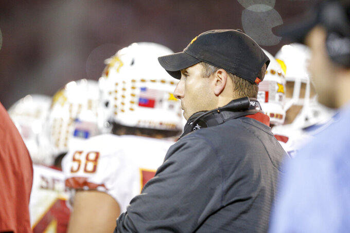 Iowa State Cyclones head coach Matt Campbell watches his team during the NCAA football game between the against the Iowa State Cyclones and the Oklahoma Sooners at Gaylord Family-Oklahoma Memorial Stadium in Norman, Okla., on Saturday, Nov. 9, 2019. (Ian Maule/Tulsa World via AP)