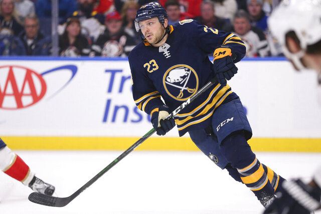 Buffalo Sabres forward Sam Reinhart (23) skates during the third period of an NHL hockey game against the Florida Panthers, Saturday, Jan. 4, 2020, in Buffalo, N.Y. (AP Photo/Jeffrey T. Barnes)